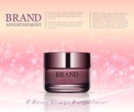 Anuncio poner crema antienvejecedor de la belleza Diseño de paquete de los cosméticos ejemplo de la belleza del vector 3d Máscara Fotos de archivo