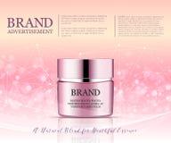 Anuncio poner crema antienvejecedor de la belleza Diseño de paquete de los cosméticos ejemplo de la belleza del vector 3d Máscara Imagenes de archivo