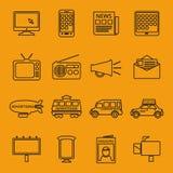 Anuncio y línea iconos del márketing fijados Fotos de archivo libres de regalías