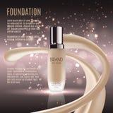 Anuncios atractivos de la fundación, botella de cristal con la fundación y efectos chispeantes, anuncios elegantes para el diseño Imagen de archivo