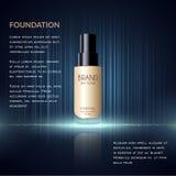 Anuncios atractivos de la fundación, botella de cristal con la fundación y efectos chispeantes, anuncios elegantes para el diseño Foto de archivo