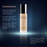 Anuncios atractivos de la fundación, botella de cristal con la fundación y efectos chispeantes, anuncios elegantes para el diseño Fotos de archivo