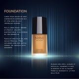 Anuncios atractivos de la fundación, botella de cristal con la fundación y efectos chispeantes, anuncios elegantes para el diseño Imagen de archivo libre de regalías