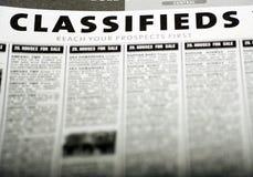 Anuncios clasificados Fotografía de archivo