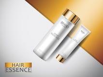 Anuncios cosméticos, botellas cosméticas blancas superiores 3d con la taza del oro en fondo superficial abstracto del oro y de la Fotografía de archivo libre de regalías