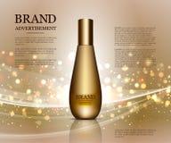 Anuncios cosméticos plantilla, maqueta de la botella de la gotita aislada en fondo del deslumbramiento Elementos de oro de la hoj Foto de archivo libre de regalías