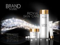 Anuncios cosméticos superiores La botella de lujo blanca y la crema del extracto real de la perla del cuidado de la cara en onda  Foto de archivo libre de regalías