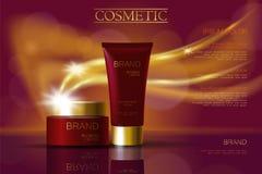 Anuncios de color rojo oscuro de oro de los cosméticos del paquete de la crema del skincare Cartel realista de la promoción del e stock de ilustración