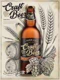 Anuncios de la cerveza del arte stock de ilustración