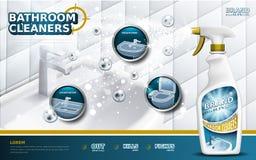 Anuncios de los limpiadores de cuarto de baño libre illustration