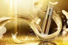 Anuncios de oro del espray del skincare stock de ilustración
