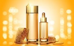 Anuncios de producto del skincare de la miel stock de ilustración
