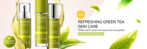 Anuncios de restauración del cuidado de piel del té verde ilustración del vector