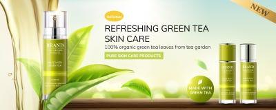Anuncios de restauración del cuidado de piel del té verde libre illustration