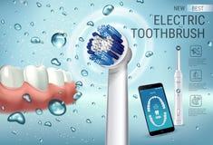 Anuncios del cepillo de dientes eléctrico Vector el ejemplo 3d con el cepillo vibrante y el app dental móvil en la pantalla del t ilustración del vector