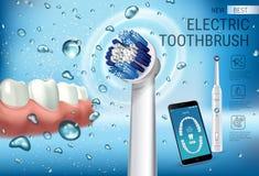 Anuncios del cepillo de dientes eléctrico Vector el ejemplo 3d con el cepillo vibrante y el app dental móvil en la pantalla del t Fotos de archivo libres de regalías