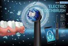 Anuncios del cepillo de dientes eléctrico Vector el ejemplo 3d con el cepillo vibrante y el app dental móvil en la pantalla del t Imagen de archivo
