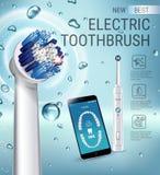 Anuncios del cepillo de dientes eléctrico Vector el ejemplo 3d con el cepillo vibrante y el app dental móvil en la pantalla del t Imagenes de archivo