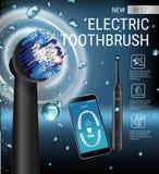 Anuncios del cepillo de dientes eléctrico Vector el ejemplo 3d con el cepillo vibrante y el app dental móvil en la pantalla del t Fotografía de archivo libre de regalías