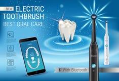 Anuncios del cepillo de dientes eléctrico Vector el ejemplo 3d con el cepillo vibrante y el app dental móvil en la pantalla del t Foto de archivo libre de regalías