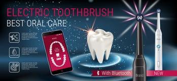 Anuncios del cepillo de dientes eléctrico Vector el ejemplo 3d con el cepillo vibrante y el app dental móvil en la pantalla del t Foto de archivo