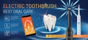 Anuncios del cepillo de dientes eléctrico Vector el ejemplo 3d con el cepillo vibrante y el app dental móvil en la pantalla del t Fotos de archivo