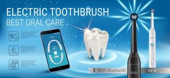 Anuncios del cepillo de dientes eléctrico Vector el ejemplo 3d con el cepillo vibrante y el app dental móvil en la pantalla del t Fotografía de archivo