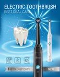 Anuncios del cepillo de dientes eléctrico Vector el ejemplo 3d con el cepillo vibrante y el diente Fotografía de archivo