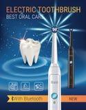 Anuncios del cepillo de dientes eléctrico Vector el ejemplo 3d con el cepillo vibrante y el diente stock de ilustración