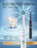Anuncios del cepillo de dientes eléctrico Vector el ejemplo 3d con el cepillo vibrante y el diente Imagen de archivo libre de regalías