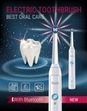 Anuncios del cepillo de dientes eléctrico Vector el ejemplo 3d con el cepillo vibrante y el diente Imágenes de archivo libres de regalías