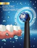 Anuncios del cepillo de dientes eléctrico Vector el ejemplo 3d con el cepillo vibrante y goma y los dientes Fotografía de archivo libre de regalías