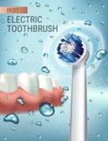 Anuncios del cepillo de dientes eléctrico Vector el ejemplo 3d con el cepillo vibrante y goma y los dientes ilustración del vector