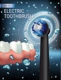 Anuncios del cepillo de dientes eléctrico Vector el ejemplo 3d con el cepillo vibrante y goma y los dientes Imagen de archivo libre de regalías