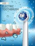 Anuncios del cepillo de dientes eléctrico Vector el ejemplo 3d con el cepillo vibrante y goma y los dientes stock de ilustración