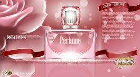 Anuncios del cosmético de la botella de perfume libre illustration
