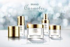 Anuncios determinados cosméticos de Skincare stock de ilustración