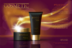 Anuncios negros de oro de los cosméticos del paquete de la crema del skincare Cartel realista de la promoción del ejemplo 3d Gl d ilustración del vector