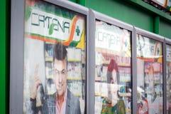 Anuncios publicitarios de la farmacia de la catenaria Fotos de archivo