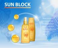 Anuncios ULTRAVIOLETA plantilla de la protección de Sunblock, cara del diseño de productos de la protección del cuidado del sol y Imagen de archivo