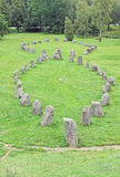 Anundshog cemetary, rune stone Royalty Free Stock Photo