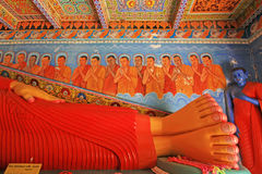 Anuradhapura Isurumuniya Temple`s Sleeping Buddha, Sri Lanka UNESCO World Heritage. Isurumuniya is a Buddhist temple situated near to the Tissa Wewa Tisa tank in stock photos
