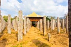 Anuradhapura pałac kamienia Bezczelni filary Frontowy H Zdjęcia Stock