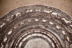 Anuradhapura ruins 1. Remains of ancient city structure of Anuradhapura Sri Lanka. Dated 2000 years back. This is known as a Sandakada Pahana or moon crescent Stock Photos