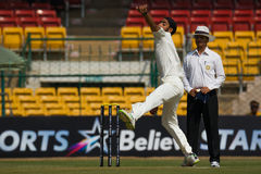 Anureet Singh Bowling. Anureet Singh playing for Rest of India bowls against Karnataka Stock Photography