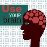 Använd din Brain Concept med det abstrakta huvudet Arkivfoto