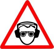 Använd ditt öraskydd, oväsenförorening, var säker att använda ljudtätt varna för hörlurar Rött förbudvarningssymbol Arkivbild