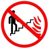 Använd inte trappa, moment, stege i fall att av tecknet för cirkeln för brandförbud som det röda isoleras på vit bakgrund Royaltyfri Foto