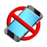 Använd inte vektorn för smartphoneförbudtecknet Arkivfoto