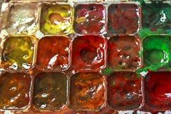 Använd palett av vattenfärgen arkivfoton